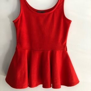 Red Peplum Shirt